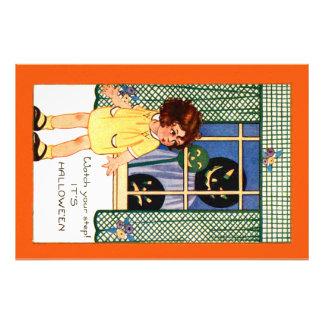 Girl Jack O' Lantern Pumpkin Trick Or Treat Photo Print