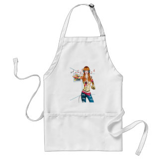Girl Jamming with Headphones Adult Apron