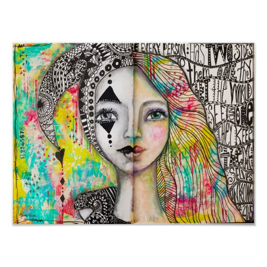 Girl Jester Portrait Colorful Black White Fun Cute Poster