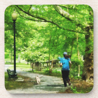 Girl Jogging with Dog Drink Coaster