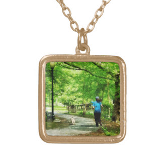 Girl Jogging with Dog Square Pendant Necklace