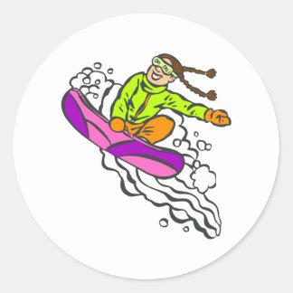 Girl Jumper Round Sticker