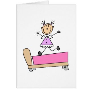 Girl Jumping On Bed Card