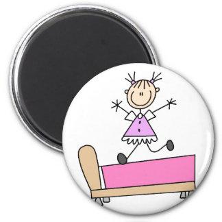 Girl Jumping On Bed Magnet Fridge Magnet