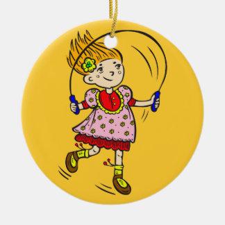 Girl Jumping Rope Ceramic Ornament