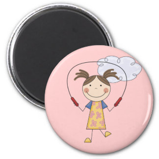Girl Jumping Rope  T-shirts and Gifts 2 Inch Round Magnet