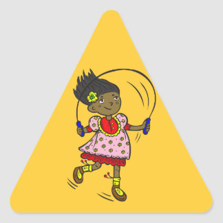 Girl Jumping Rope Triangle Sticker