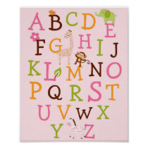 Girl Jungle Animal Alphabet Nursery Wall Print