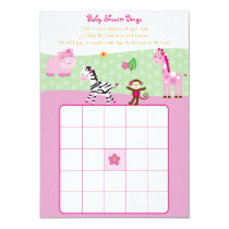 Girl Jungle Animal Baby Bingo Cards