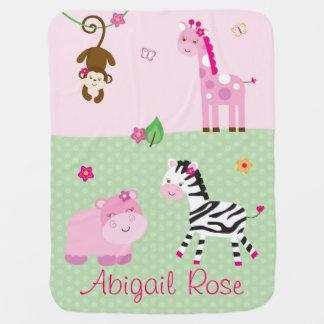 Girl Jungle Animal Baby Blanket