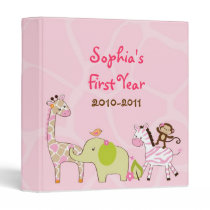 Girl Jungle Animal Baby Photo Album Scrapbook 3 Ring Binder