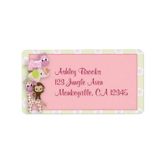 Girl Jungle Animal Baby Shower Address Label