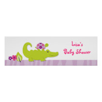 Girl Jungle Animal Baby Shower Banner Sign
