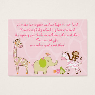 Girl Jungle Animal Baby Shower Book Request Cards