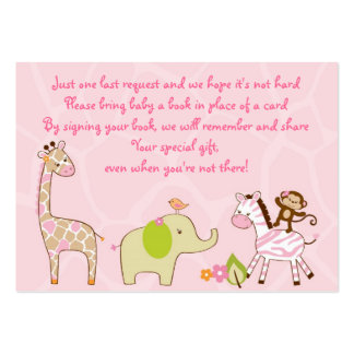 Girl Jungle Animal Baby Shower Book Request Cards Large Business Cards (Pack Of 100)
