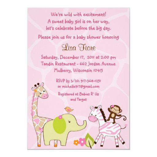 Girl Jungle Animal Baby Shower Invitations