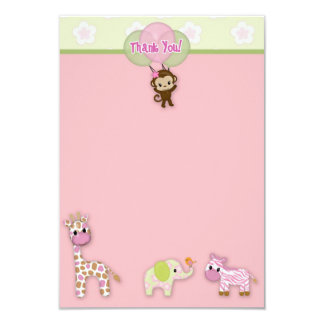 "Girl Jungle Animal Baby Shower Thank You 3.5""x5"" 3.5x5 Paper Invitation Card"