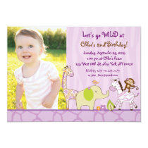 Girl Jungle Animal Birthday Invitations
