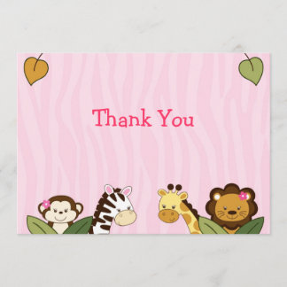 Girl Jungle Animal Flat Thank You Note Cards