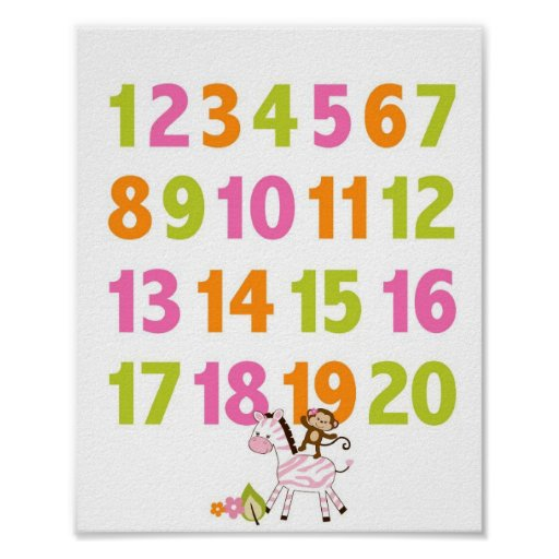 Girl Jungle Animal Number Nursery Wall Art Print