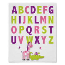 Girl Jungle Animal Nursery Wall Art Print Alphabet