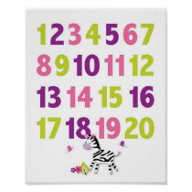 Girl Jungle Animal Nursery Wall Art Print Numbers