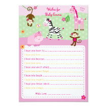 Girl Jungle Animal Wishes for Baby Cards