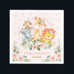 """Girl Jungle Baby Shower Wild Animals Birthday Napkin<br><div class=""""desc"""">This girly design features a group of adorable jungle animals and gorgeous blush watercolor roses  Matching items available in our store!</div>"""
