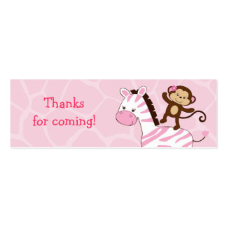 Girl Jungle Monkey Baby Shower Favor Gift Tags Double-Sided Mini Business Cards (Pack Of 20)