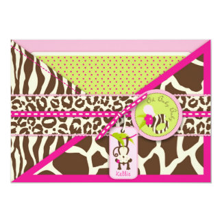 Girl Jungle Monkey Safari Baby Shower Cards
