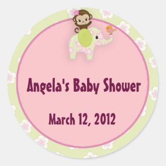 Girl Jungle Safari Animal Baby Shower Classic Round Sticker