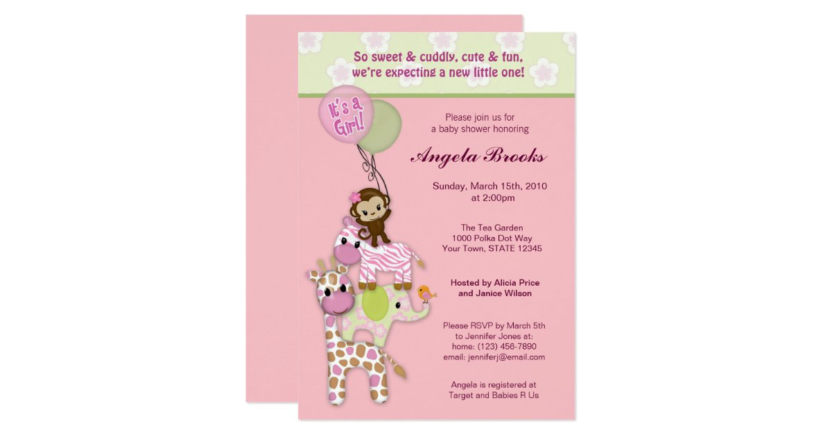 girl jungle safari animal baby shower invitations zazzle