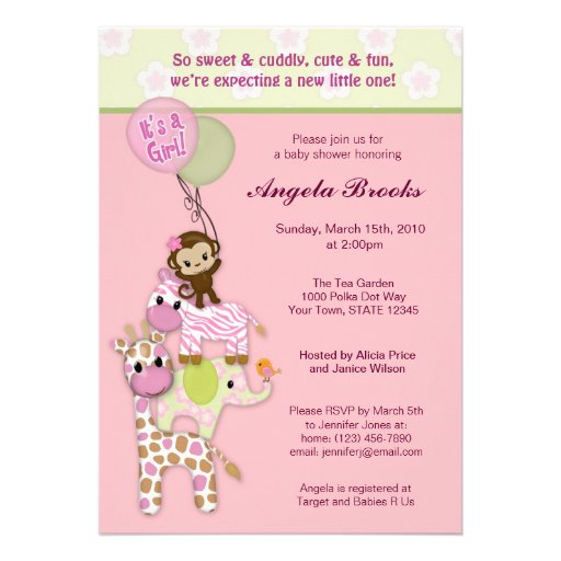 Girl Jungle Safari Animal Baby Shower Invitations (front side)