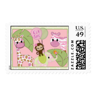 Girl Jungle Safari Animal Baby Shower Postage
