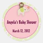 Girl Jungle Safari Animal Baby Shower Round Stickers