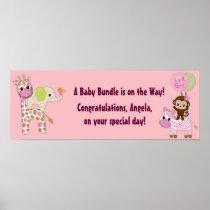 Girl Jungle Safari Baby Shower Banner Poster