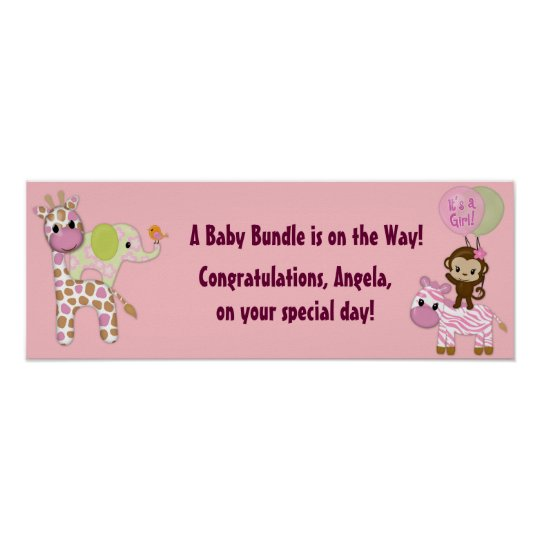 Girl Jungle Safari Baby Shower Banner Poster