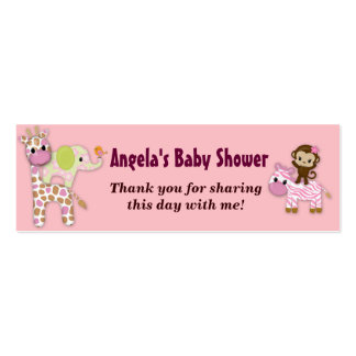 Girl Jungle Safari Baby Shower Favor Gift Tags Double-Sided Mini Business Cards (Pack Of 20)
