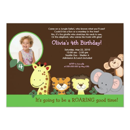 Girl Jungle Safari Zoo Animal Photo Birthday Card