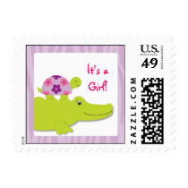 Girl Jungle Turtle It's a Girl Postage Stamps