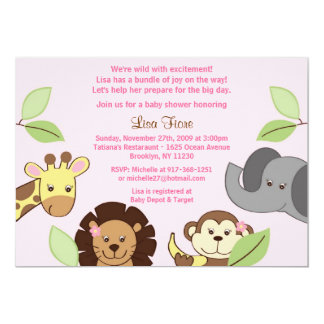 Girl Jungle Zoo Animals Baby Shower Invitations