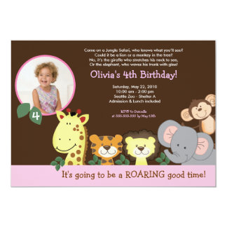 Girl Jungle Zoo Party Animal Photo Birthday Card