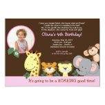 "Girl Jungle Zoo Party Animal Photo Birthday 5"" X 7"" Invitation Card"