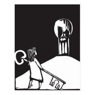 Girl, Key and Skull Postcard