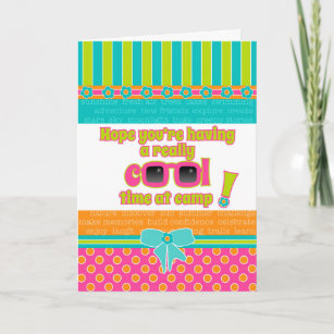 Girl Kids at Camp Really Cool Time Pink Sunglasses Card