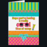"""Girl Kids at Camp Really Cool Time Pink Sunglasses Card<br><div class=""""desc"""">Cute and trendy in great bright colors of pink, orange, aqua and turquoise. This fun card to send to a special girl while she&#39;s away at camp features adorable pink sunglasses on the cover and a wish that she&#39;s having a cool time. Adventure, new friends and new confidence awaits! A...</div>"""