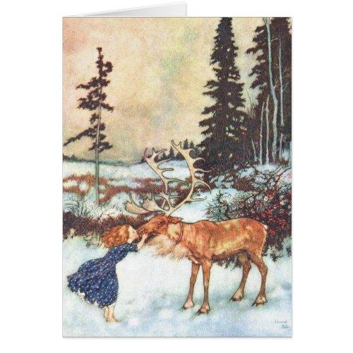 Girl kissing a reindeer Vintage Christmas card Sales 98