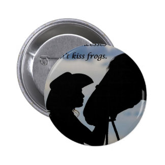 Girl Kissing Horse Pinback Button
