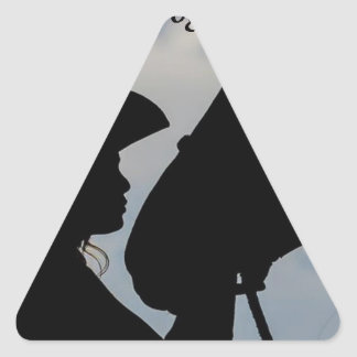 Girl Kissing Horse Triangle Sticker