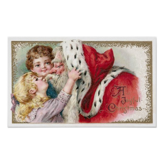 Girl Kissing Santa Claus Vintage Christmas Poster
